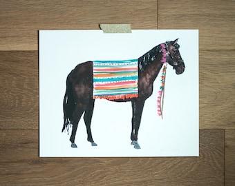 Horse print - horse painting - animal art - southwest art