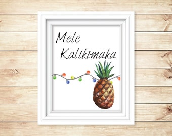 Mele Kalikimaka - Hawaiian Christmas, Watercolor Digital Print, Instant Download