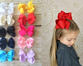 """SET of 10 6"""" Bows, Big grosgrain hair bows clips, Large pack of girls hairbows"""