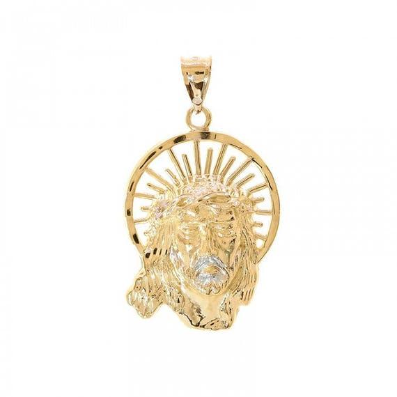 14k yellow gold jesus head pendant aloadofball Images