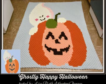Ghostly Happy Halloween Afghan, C2C Graph, Crochet Pattern