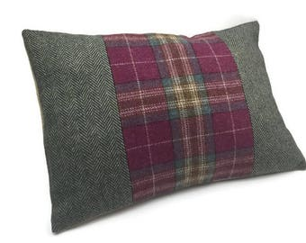 SALE Green and Pink Decorative Oblong / Lumbar Throw Pillow Cover Rectangular Cushion Cover Wool Tweed