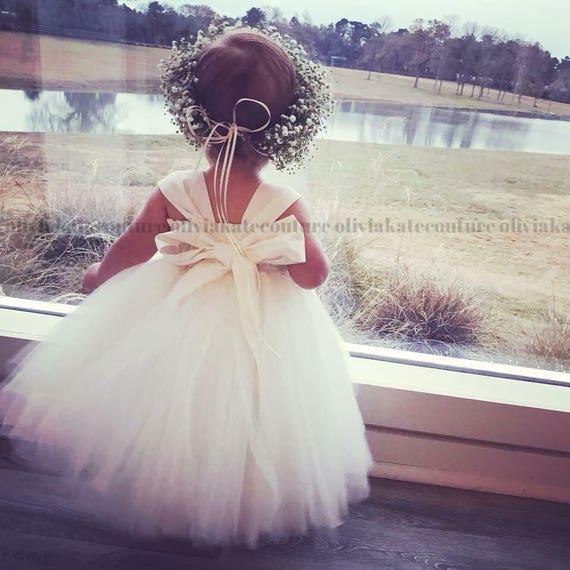 Elfenbein Blumenmädchenkleid Blumenmädchen Kleid weiß