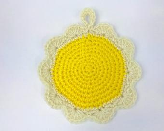 Crochet hot pads, round, kitchen potholder, handmade, hanging, acrylic yarn, yellow