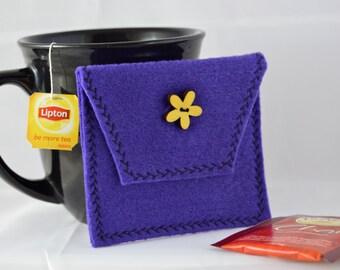 Purple Tea Tote, Reusable Tea Pouch, Tea Bag Carrier, Tea Wallet,  Felt Envelope, Tea Bag Pouch, Tea Accessory, Mother's Day Gift