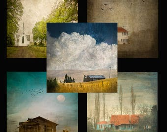 5 square mini cards, Churches and abandoned in Hawke's Bay, mixture, envelopes, Greeting Card, Gift Card, Creative Fine Art Photography