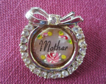 Vintage Mothers Pin, Mothers Day gift, mother jewelry, small pin, hand painted with rhinestones, small brooch,tiny vintage pin,roses jewelry