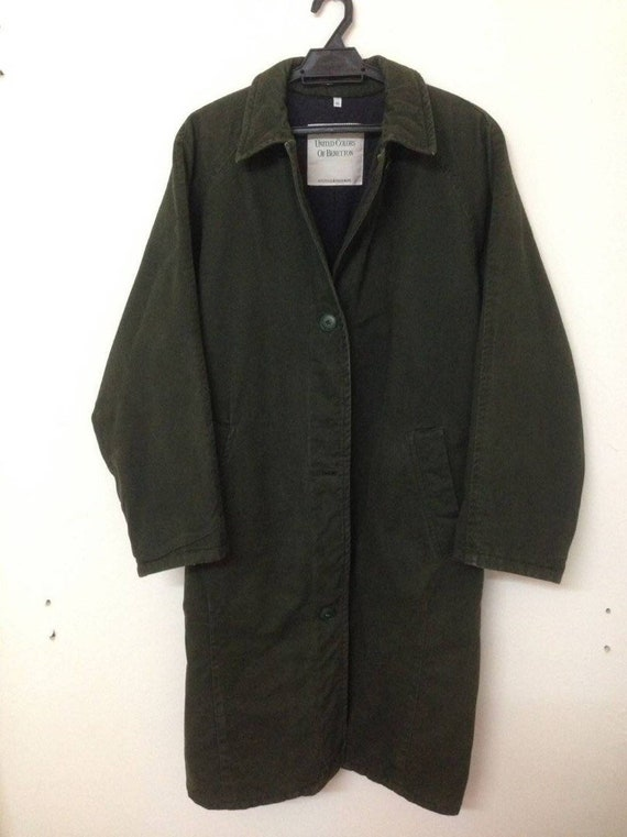 Green Winter Parka Quilted Army Camo Benetton Olive Military Wear BOIzq