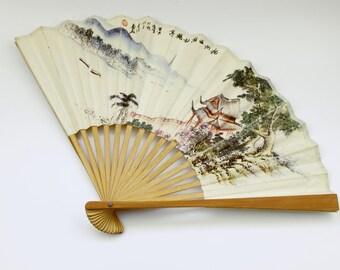 Antique Fan, Hand Painted Wooden Hand Held Fan, Folding Fan, Vintage Costume Accessory, Vintage Fashion Accessory, Oriental
