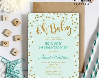 Mint and Gold Baby Shower Invitation | 5x7 | Editable PDF | Instant Download | Personalize with Adobe Reader