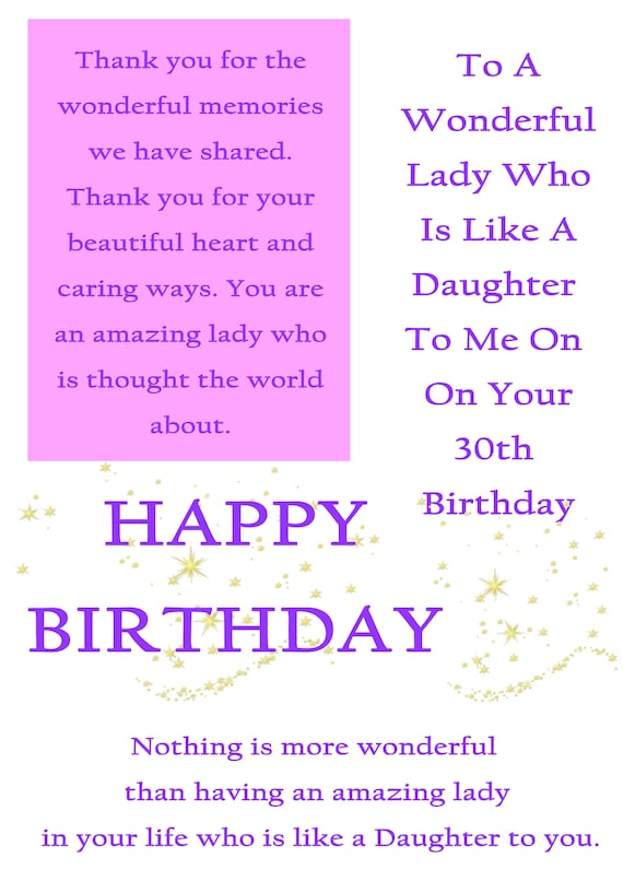 Like A Daughter 30 Birthday Card With Removable Lamiante