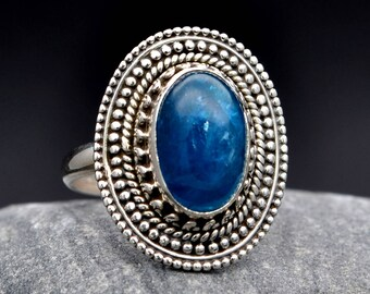 Apatite Blue Ring 925 Sterling Silver  Handmade Unique Design