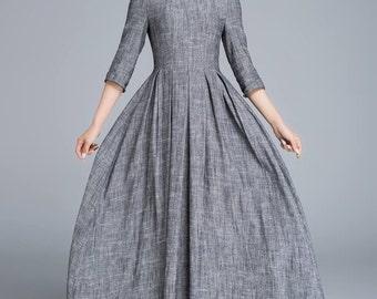 Comfy dress, dark gray dress, linen dress, fitted dress, summer dress, womens dresses, long dress, romantic dress, gift ideas 1653