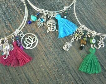 zen bracelets Boho bangle bracelet SALE SET 3 yoga bracelet tassel bracelet spiritual bracelet charm bracelets tribal hippie festival gypsy