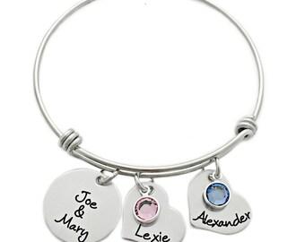Personalized Family Bangle Bracelet - Engraved Bangle Bracelet - Expandable Bangle - Mom Bracelet - Couple Bangle - Valentine's Day - 1007