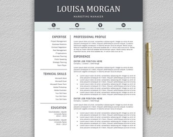 Professional Resume Template for Word | 1 and 2 Page Resume Template + Cover Letter + Icons | Creative Resume Template | CV Template SALE