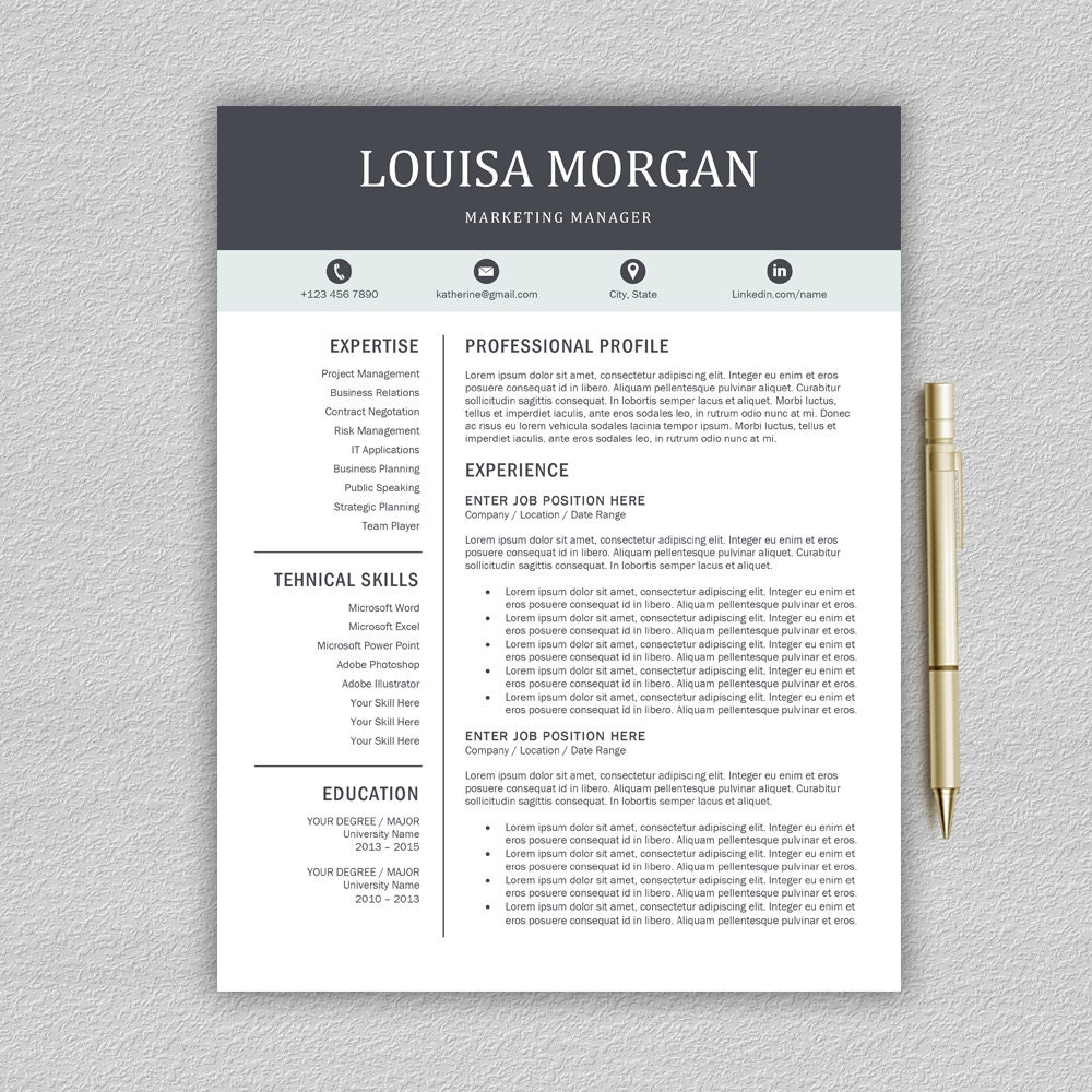 Professional Resume Template for Word 1 and 2 Page Resume