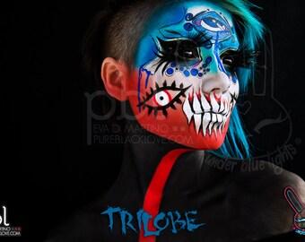 pblubl TRILOBE- Art print, Under Blue Lights and PureBlackLove collaboration photo set, fusion makeup, scleras, third eye, eyesusagi, bunny,
