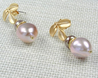 Pink Pearls with Gold Leaves Post Earrings