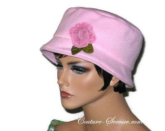 Soft Pink Bucket Hat, Women's Handmade Fashion, Lined Fleece Bucket Hat
