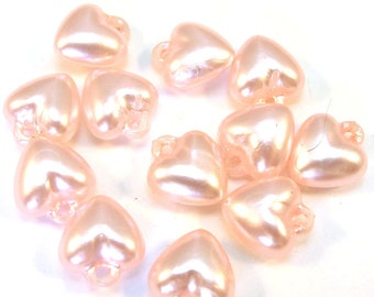 Pink Pearlish Acrylic 15mm x 12mm Puff Heart Charms,  Set of 12, 1075-20