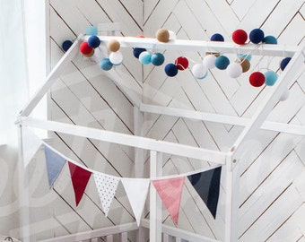 FLAG BUNTING for wood bed, baby bed house, kids bed, wooden bed, kids teepee, wood nursery, nursery bed house, wooden house, wood house