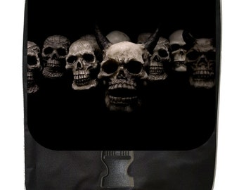 Devilish Skulls  - Large Black School Backpack