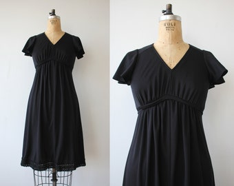 vintage 1970s dress / 70s black dress / 70s empire waist dress / 70s day dress / 70s tie back dress / 70s disco dress / small medium
