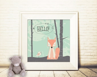 square, nursery art print, Hello Fox art print, Giclee Art Print, Mint, Coral, archival art print, fox print, woodland art print