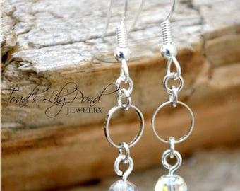 Dainty jewellery, Swarovski Crystal Earrings, dainty earrings, silver earrings, minimalist crystal earrings 1.25 inch Free shipping