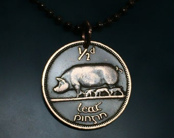 IRELAND coin necklace jewelry.  Irish pig Pendant . piglet. year of the pig. fertility . luck . mens coin necklace