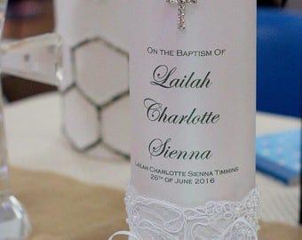 Baptism / Christening Personalised Embellished Candles