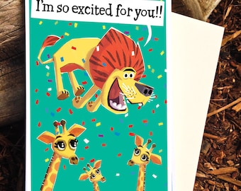 Lion Card, Encouragment Card, Congratulations Card, Graduation Card, Excited for You