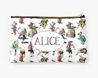 Alice's Adventures in Wonderland Pouch- personalized pouch with colorful, vintage illustrations, mad hatter, queen of hearts, cheshire cat