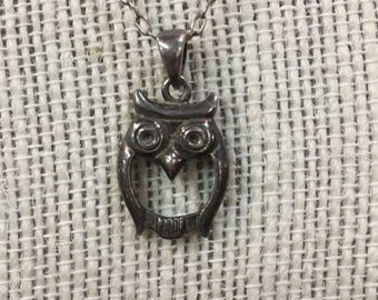 Sterling Silver Owl Animal Bird Pendant Necklace