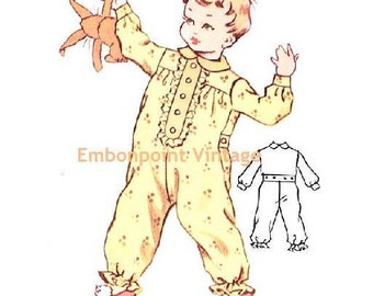 Plus Size (or any size) Vintage 1950s Baby's Romper Pattern - PDF - Pattern No 198 Taylor