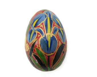 Painted Lacquer Mini Egg - Red and Blue Floral, Iris, Easter Decor, Wood, Folk Art