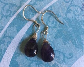 Sterling Silver Dark Amethyst Teardrops. if requested they can be in Gold tone.