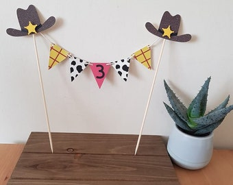 personalised cowboy cake bunting topper