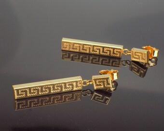 Gold Earrings, Dangle Earrings 1970s Greek Key Pattern, hallmarked