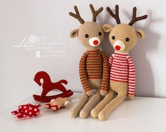 Deer Crochet deer Amigurumi Christmas toy Baby gift Christmas deer Soft toy Rudolph the Red Nosed Reindeer Plush Toy