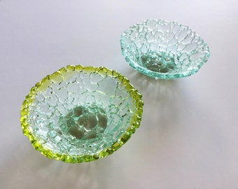 """Shatterglass Fused Glass bowl Upcycled Recycled Tempered Glass  Small 4.5"""" diameter x 1.5"""" deep"""