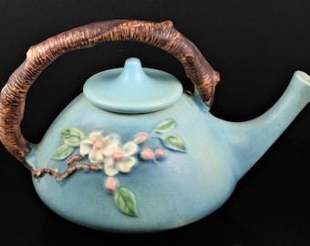 Roseville, Apple Blossom, Blue Tea Pot, No. 371