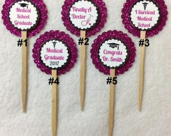 ANY YEAR Set Of 12 Personalized Doctor Medical School Graduation Cupcake Toppers (You Choice Of Any 12)