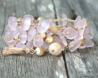 Pink Boho Bracelet Wrap / Pink Sea Glass Crochet Bracelet / Beach Glass Wrap Bracelet / Beach Bracelet / Pink Mermaid Bracelet