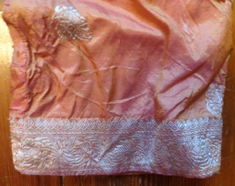 50s Ethnic Peach Silk Pants, Larger Size