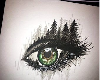 Hand painted watercolor eye // night // forest