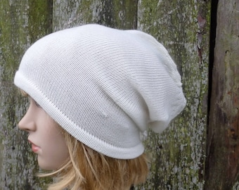 Hat, knitted wool hat, knitted winter autumn cap, knit white beanie hat, women men  tam, slouchy, knitting head gear, baggy hat,