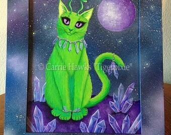 Alien Cat Art Original Cat Painting Space Cat Green Alien Cat Big Eye Art Original Cat Art Painting Art For Cat Lover