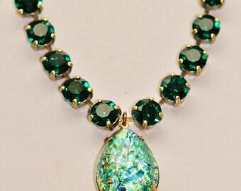 Vintage Emerald Opal Necklace,RARE Emerald Green Fire Opal,Swarovski Necklace,Opal Necklace,Opal Jewelry,Teardrop,Pear,Rhinestone,Gift